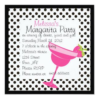 Erdbeermargarita-Party Quadratische 13,3 Cm Einladungskarte