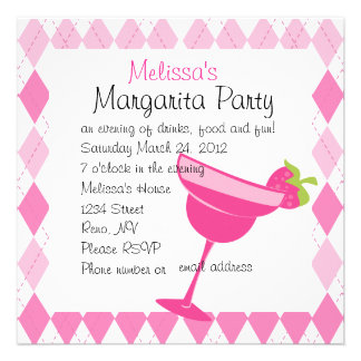 Erdbeermargarita-Party Personalisierte Ankündigungskarte