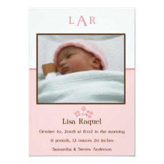 Erdbeermonogramm-Foto-Geburts-Mitteilung 12,7 X 17,8 Cm Einladungskarte