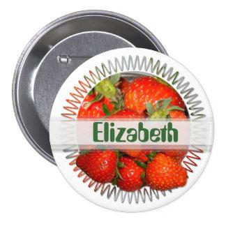 Erdbeernamensknopf ~ Knopf/Button # 3 Runder Button 7,6 Cm