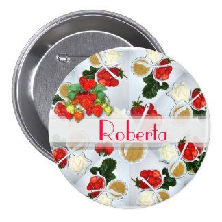 Erdbeernamensknopf ~ Knopf/Button Runder Button 7,6 Cm