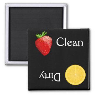 Erdbeerorange Frucht-saubere schmutzige Spülmaschi Quadratischer Magnet