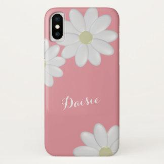 Erdbeerrosa weißes Gänseblümchen-Blumen iPhone X iPhone X Hülle