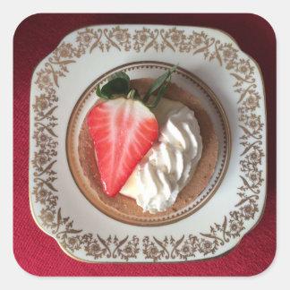 Erdbeerscharfer roter Samt-Aufkleber Quadratischer Aufkleber