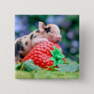 Erdbeerschwein Quadratischer Button 5,1 Cm