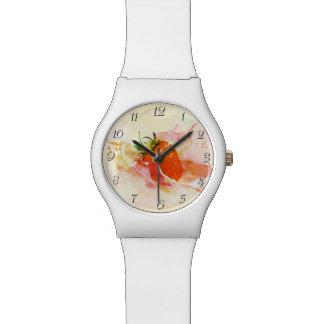 Erdbeerspritzen! Aquarell Armbanduhr