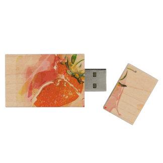 Erdbeerspritzen! Aquarell Holz USB Stick