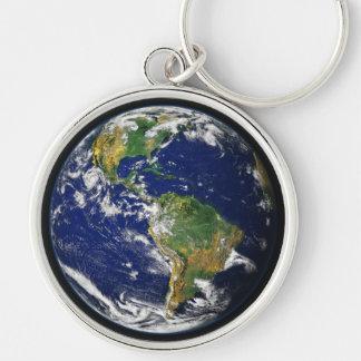 Erde Keychain Silberfarbener Runder Schlüsselanhänger