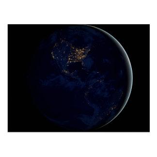 Erde nachts postkarte