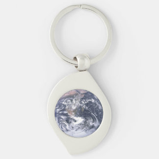 Erde Silberfarbener Wirbel Schlüsselanhänger
