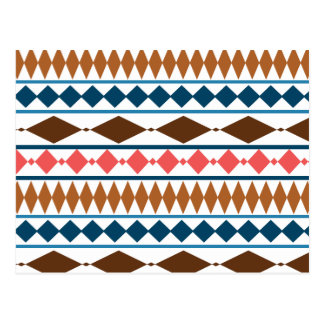 Erde tont geometrisches Stammes- Muster Postkarte
