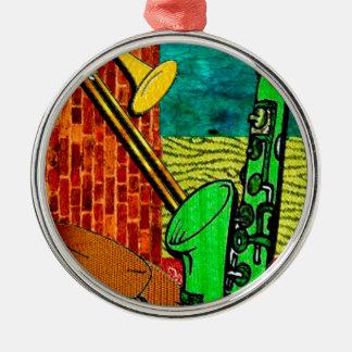 Erdige Jazz-Collage Silbernes Ornament
