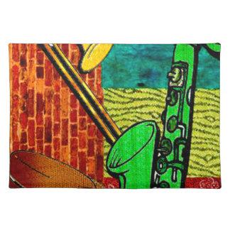 Erdige Jazz-Collage Stofftischset