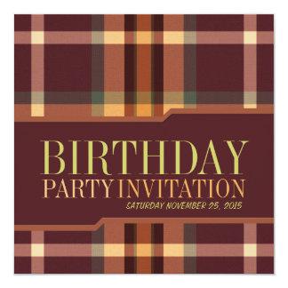 Erdige Tartan-Plaid-Geburtstags-Party Einladungen