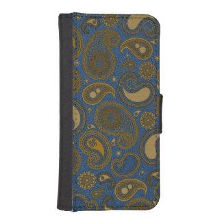 Erdiges Muster Browns Paisley auf blauem Gewebe Geldbeutel Hülle Für Das iPhone SE/5/5s