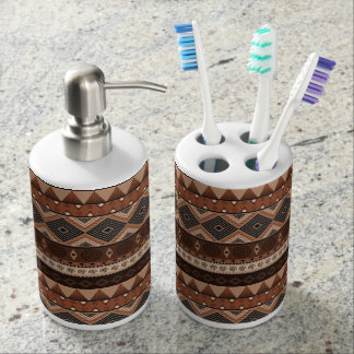 Erdiges Stammes- Zahnbürste-Halter-Set Badset