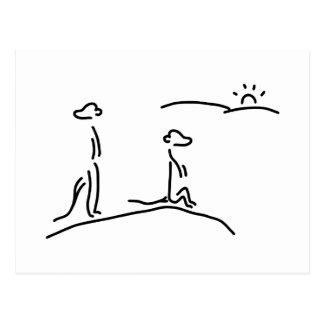 erdmaennchen aufpasser mangusten postkarte