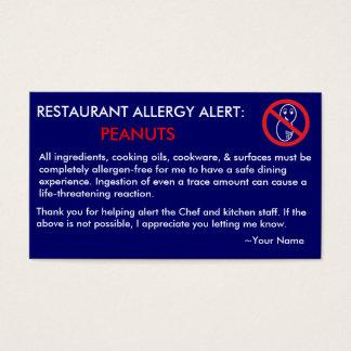 Erdnuss-Allergie-Restaurant u. EIS Karte - F/NB