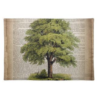 Erdtag-ÖKO-Wörterbuch druckt Vintagen Eichenbaum Stofftischset
