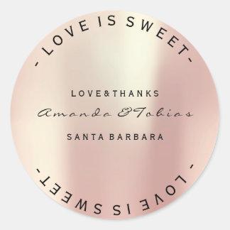 Ereignis-Hochzeit dankt rosa Rosen-Goldglas-Haut Runder Aufkleber