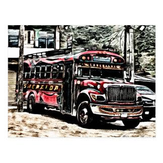 Erfahrungs-Huhn-Bus in Guatemala Postkarte