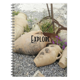 Erforschen Sie Lehm-Vasennotizbuch Notizblock