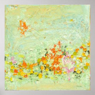 Erfrischung - Geen u. orange abstrakte Kunst Poster