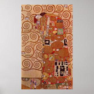 Erfüllung durch Gustav Klimt, Vintage Kunst Poster