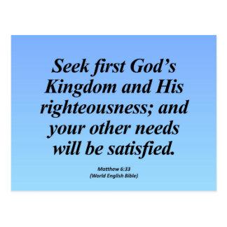 Erfüllungs-Matthew-6:33 Abbrev Postkarte