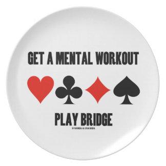 Erhalten Sie eine Geistesworkout-Spiel-Brücke Teller