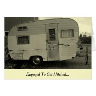 Erhalten Sie Hitched Camper-Verlobungs-Karte Karte
