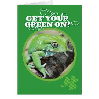 Erhalten Sie Ihr Grün auf Frosch St. Pattys Tages Karte