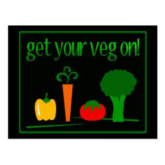 Erhalten Sie Ihr Veg an! Mit sortierten Veggies Postkarte