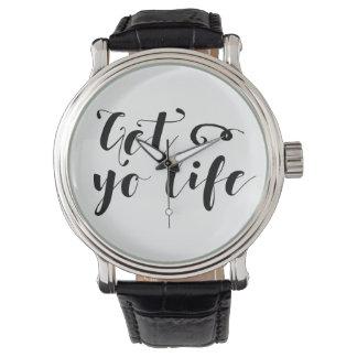 Erhalten Sie Ihre Leben-Typografie Armbanduhr