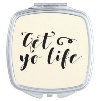 Erhalten Sie Ihre Leben-Typografie Schminkspiegel