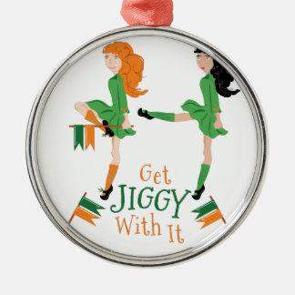 Erhalten Sie Jiggy Rundes Silberfarbenes Ornament