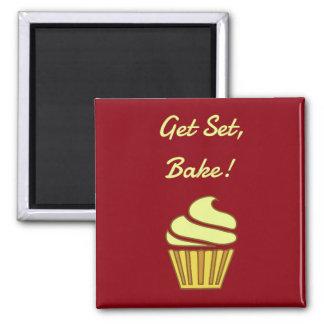 Erhalten Sie Set backen Sahnekleinen kuchen Quadratischer Magnet