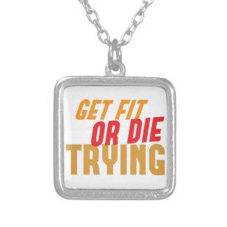 ERHALTEN Sie SITZ oder DIE DAS VERSUCHEN Halskette Mit Quadratischem Anhänger