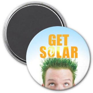Erhalten Sie Solarlogo umweltfreundlichen Runder Magnet 7,6 Cm