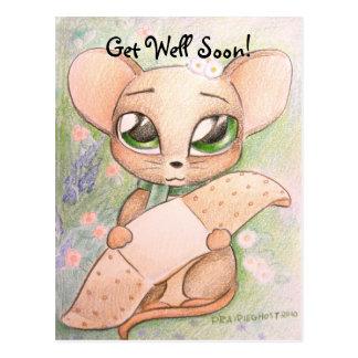 Erhalten Sie wohle bald Mäusepostkarte Postkarte