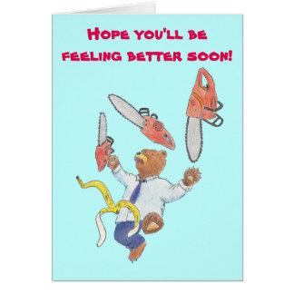 Erhalten Sie wohle Karte mit jonglierendem Bären