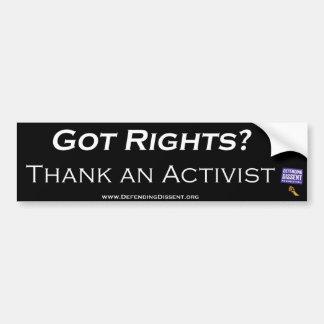 Erhaltene Rechte Danken Sie einem Aktivisten Autoaufkleber