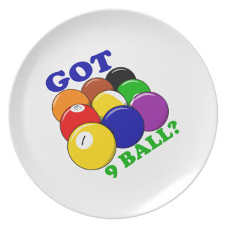 Erhaltener 9 Ball-Pool-Spieler Teller