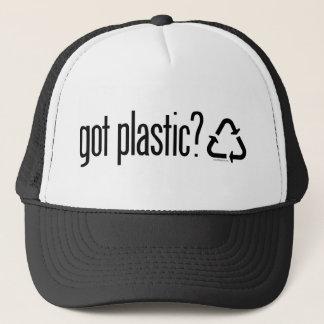 erhaltener Plastik? Recyceln des Zeichens Truckerkappe