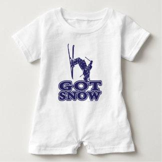 Erhaltener Schnee-Schnee-Skifahrer Baby Strampler
