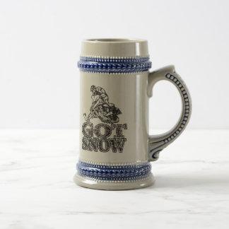 Erhaltener Schnee Snowmobiler Bierglas