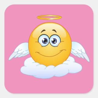 Erholung im Friedenshimmel fertigen Emoji Engel Quadratischer Aufkleber