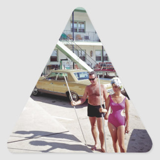 Erholungs-Bucht-Motel in den sechziger Jahren Dreieckiger Aufkleber