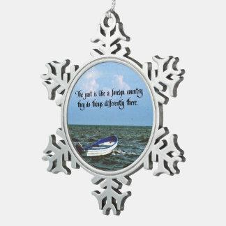 Erinnern an das letzte inspirierend Zitat Schneeflocken Zinn-Ornament