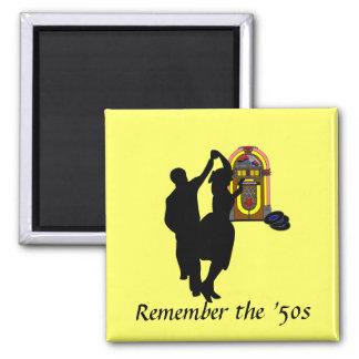 """""""Erinnern Sie sich die an Fünfzigerjahre """" Quadratischer Magnet"""